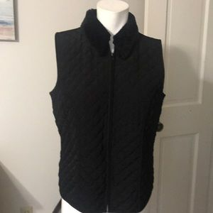 AGB Byer Black Quilted Zip Front Vest-Like New L